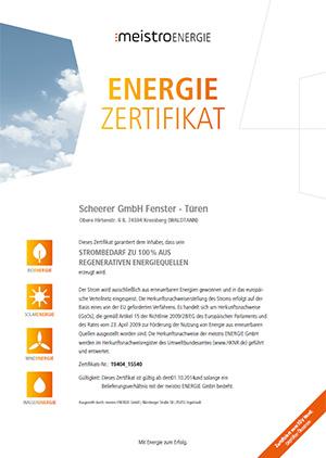 Meistro-Energie-Zertifikat